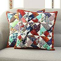 Cotton patchwork cushion covers, 'Geometric Floral' (pair) - Geometric Floral Cotton Patchwork Cushion Covers (Pair)