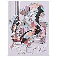 'Many Facets of Life' - Signed Cubist Portrait Painting from India