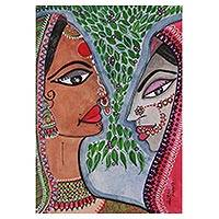 'Radha and Rukhmani Union' - Signed Watercolor Painting of Radha and Rukhmani