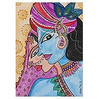 'Divine Romance' - Signed Watercolor Painting of Radha and Krishna from India