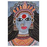 'Parvati Roop (Form)' - Hindu Folk Art Painting of Parvati from India