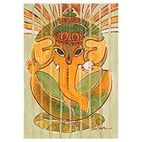 'Lord of Obstacles' - Green and Orange Expressionist Ganesha Painting from India