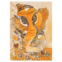 'Bala Ganesha' - Expressionist Ganesha Painting in Orange from India