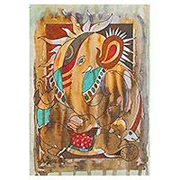 'Srishti Ganapati' - Multimedia Expressionist Ganesha Painting in Brown