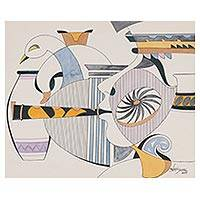 'Melody' - Signed Cubist Painting by an Indian Artist