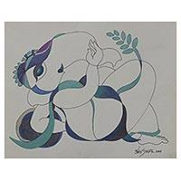 'Royal Ganesha II' - Signed Expressionist Painting of Ganesha from India
