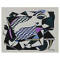 'Creative Ganesha' - Signed Cubist Painting of Ganesha from India