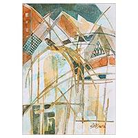 'City of Joy' - Signed Abstract Architectural Painting from India