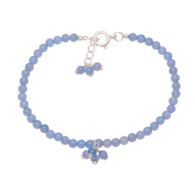 Blue Chalcedony Beaded Anklet from India