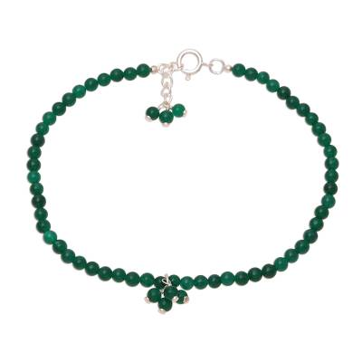 Green Onyx Beaded Anklet from India