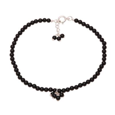 Black Onyx Beaded Anklet from India