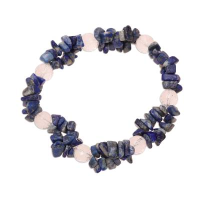 Lapis Lazuli and Clear Quartz Beaded Stretch Bracelet