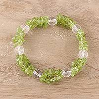 Peridot and quartz beaded stretch bracelet, 'Meadow Charm'