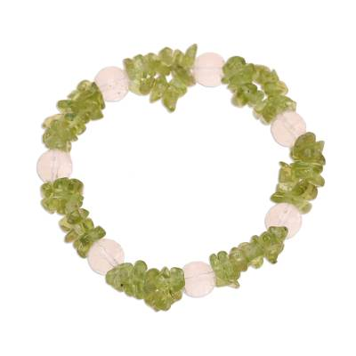 Peridot and quartz beaded stretch bracelet, 'Meadow Charm' - Peridot and Quartz Beaded Stretch Bracelet from India