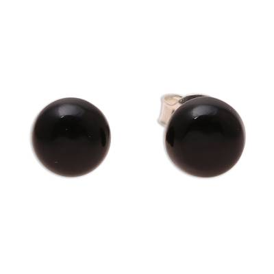 Round Black Onyx Stud Earrings from India