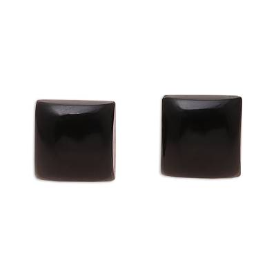 Square Black Onyx Stud Earrings from India
