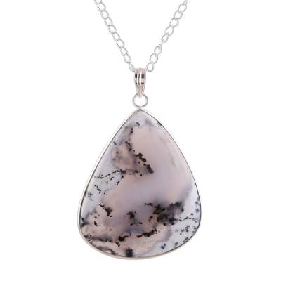 Agate pendant necklace, 'Arctic Elegance' - Agate Pendant Necklace in White and Black from India