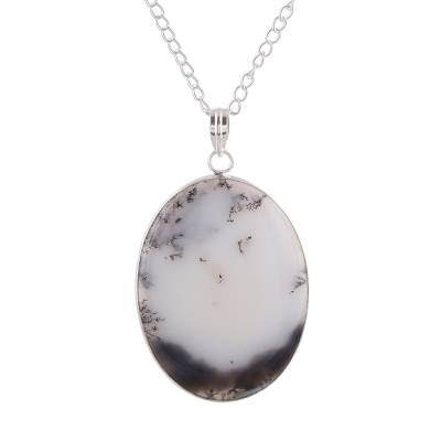 Oval Agate Pendant Necklace in White and Black from India