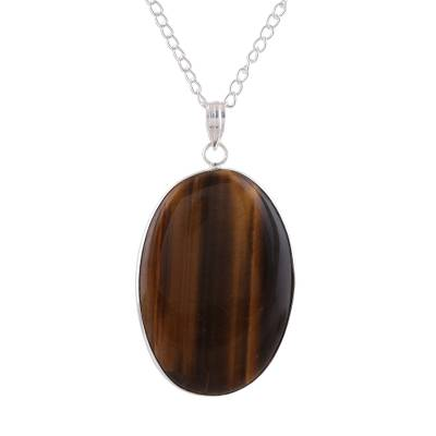 Tiger's eye pendant necklace, 'Oval Layers' - Oval Tiger's Eye Pendant Necklace from India