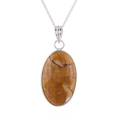 Brown Oval Agate Pendant Necklace Crafted in India