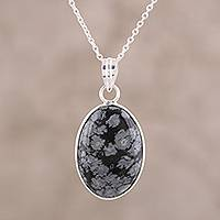 Agate pendant necklace, 'Midnight Oval' - Black and Grey Oval Agate Pendant Necklace from India