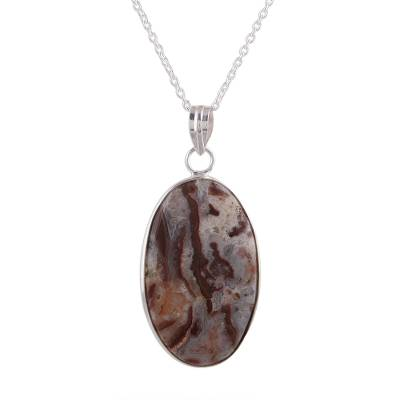 Oval Agate Pendant Necklace in Pink and Russet from India