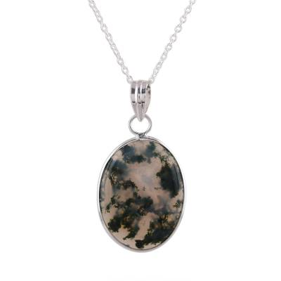 Agate pendant necklace, 'Green Clouds' - Dendritic Agate Pendant Necklace in Green from India
