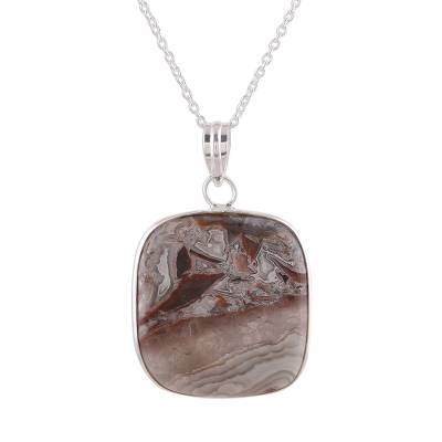 Square Agate Gemstone Pendant Necklace from India
