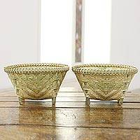 Bamboo baskets, 'Artisanal Weave' (pair) - Artisanal Woven Bamboo Baskets from India (Pair)