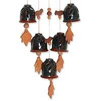 Ceramic wind chimes, 'Harmonious Arrangement' - Leaf Motif Ceramic Wind Chimes from India