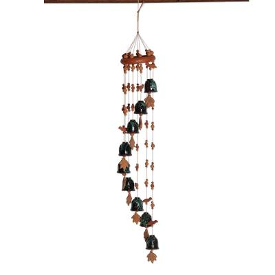 Ceramic wind chimes, 'Harmonious Spiral' - Spiral-Shaped Ceramic Wind Chimes from India