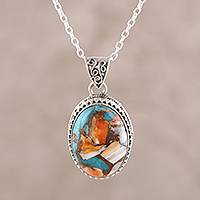 Sterling silver pendant necklace, 'Royal Oval' - Sterling Silver and Oval Composite Turquoise Necklace