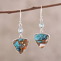 Reconstituted turquoise dangle earrings, 'Royal Colors' - Recon. Turquoise and Blue Topaz Dangle Earrings