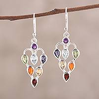 Multi-gemstone dangle earrings, 'Chakra Sparkle' - 2.6-Carat Multi-Gemstone Chakra Dangle Earrings from India