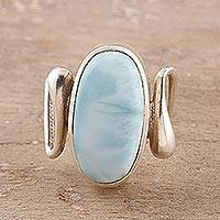 Larimar cocktail ring, 'Modern Sky' - Oval Larimar Cocktail Ring Crafted in India