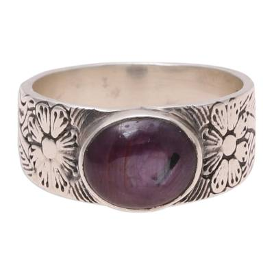 Ruby band ring, 'Lovely Flair' - Oval Ruby Floral Band Ring Crafted in India
