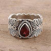 Garnet band ring, 'Energetic Drop' - Teardrop Garnet Band Ring Crafted in India
