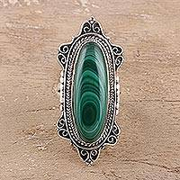 Malachite cocktail ring, 'Forest Majesty' - Oval Green Malachite Cocktail Ring Crafted in India