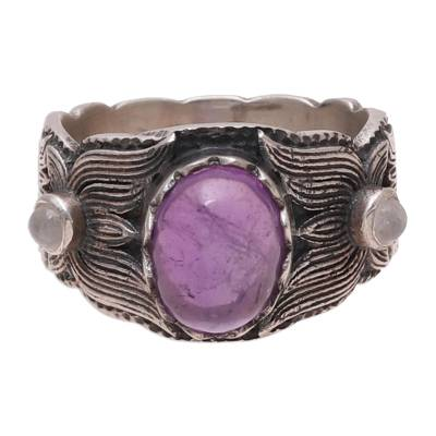 Amethyst and Rainbow Moonstone Band Ring from India