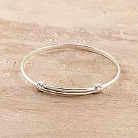 Sterling silver bangle bracelet, 'Dual Elegance' - Simple Sterling Silver Bangle Bracelet from India