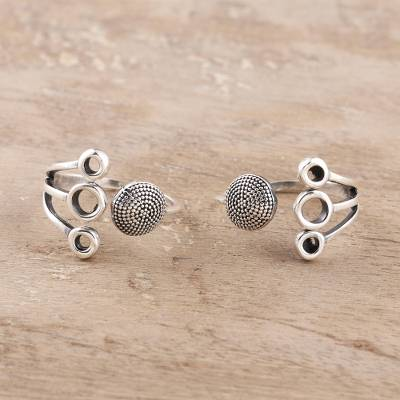 Sterling silver toe rings, 'Gleaming Fireworks' (pair) - Circle Pattern Sterling Silver Toe Rings from India (Pair)