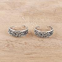 Sterling silver toe rings, 'Floral Trellis' (pair) - Floral Openwork Sterling Silver Toe Rings from India (Pair)