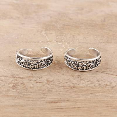 Sterling silver toe rings, 'Floral Trellis' (pair) - Floral Openwork Sterling Silver Toe Rings from India (Pair)