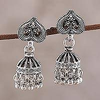 Sterling silver chandelier earrings, 'Jhumki Spades' - Spade-Shaped Sterling Silver Jhumki Chandelier Earrings