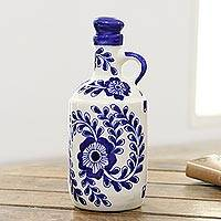 Ceramic bottle, 'Blue Khurja' - Khurja-Style Blue Floral Ceramic Bottle from India