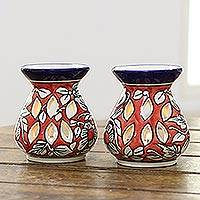 Ceramic oil warmers, 'Floral Scent' (pair) - Red Floral Motif Ceramic Oil Warmers from India (Pair)