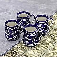Ceramic mugs, 'Floral Blue' (set of 4) - Blue Floral Ceramic Mugs from India (Set of 4)