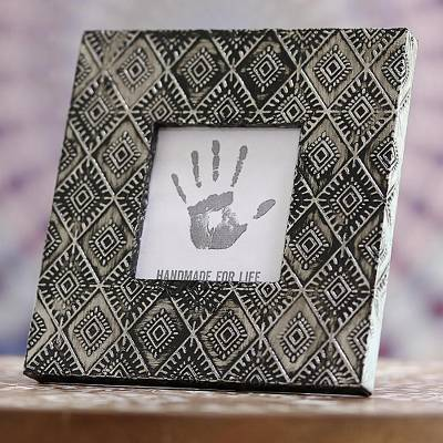 Aluminum photo frame, 'Exotic Diamonds' (3x3) - Diamond Pattern Aluminum Photo Frame from India (3x3)