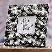 Aluminum photo frame, 'Silver Squares' (3x3) - Square Pattern Aluminum Photo Frame from India (3x3)