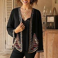 Beaded jacket, 'Midnight Glitz' - Black Jacket with Metallic Beadwork from India
